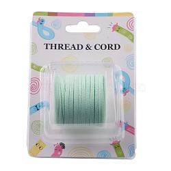 Cordon imitation daim, dentelle de faux suède, lightgreen, 3x1.5 mm; environ 5 m/rouleau(X-LW-R003-1088)