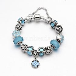 Alliage de fleur strass émail européen bracelets de perles, avec résine perles européennes, chaînes en laiton et en alliage fermoirs, bleu ciel, 180mm(BJEW-I182-01C)