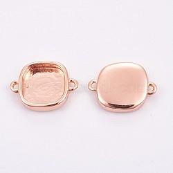 латуни кабошон параметры соединителя, чашки безель с краем, долговечный, площадь, розовое золото, лоток: 9x9 мм; 11x15x3 мм, отверстия: 1 mm(KK-F748-01RG)