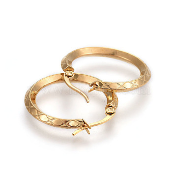 Vacuum Plating 304 Stainless Steel Hoop Earrings, Textured, Golden, 27x26x3mm, Pin: 1.2x0.7mm(EJEW-L215-38G)