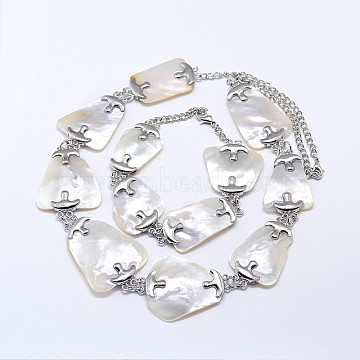 Shell Necklaces and Link Bracelets Jewelry Sets, with Brass Lobster Clasps, WhiteSmoke, 23.2inches, 240mm(SJEW-P073-19)