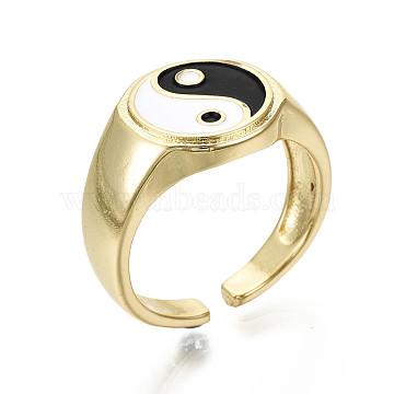 Brass Enamel Cuff Rings, Open Rings, Nickel Free, Gossip/Yin Yang, Black & White, Real 16K Gold Plated, Inner Diameter: 17mm(X-RJEW-S044-136-NF)