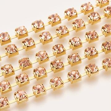 Brass Rhinestone Strass Chains, Rhinestone Cup Chain, 1440pcs rhinestone/bundles, Grade A, Light Peach, 3.5mm, about 29.52 Feet(9m)/bundle(CHC-S16-05C)