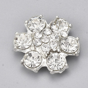 Alloy Acrylic Rhinestone Cabochons, Faceted, Flower, Clear, Platinum, 26~27x25.5x7mm(PALLOY-T066-02P)