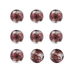 Perles vernissées de sable d'or manuelles , rond, rosybrown, 11.5~12mm, Trou: 1.2~2mm(LAMP-TAC0001-01G)