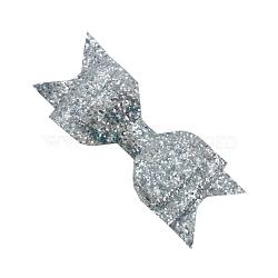 Pinces à cheveux en alligator grosgrain de bowknot, Avec des crochets d'alligator de fer, paillette power, platine, argenterie, 115x40mm(OHAR-Q263-05)