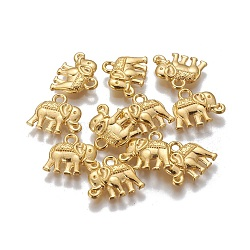 Vintage Elephant Charms, Tibetan Style Charms, Lead Free and Nickel Free, Golden, 12x14x2.5mm, Hole: 1mm