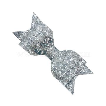 Grosgrain Bowknot Alligator Hair Clips, with Iron Alligator Clips, Paillette Power, Platinum, Silver, 115x40mm(OHAR-Q263-05)