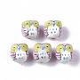 Pink Owl Porcelain Beads(PORC-N004-54C)