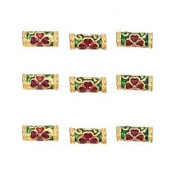 Perles en émail d'alliage de style chinois, tube avec trèfle, or, colorées, 10x4.5mm, Trou: 1.6mm(X-ENAM-L015-05A-G)