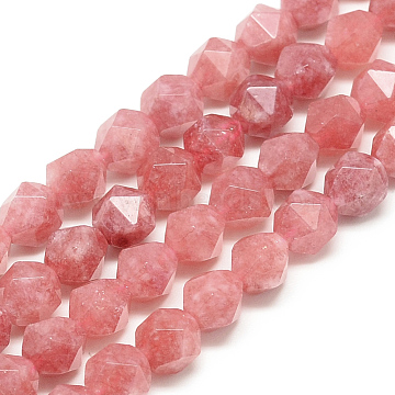 Natural Rhodochrosite Beads Strands, Star Cut Round Beads, Faceted, Dyed, 9.5~10x9mm, Hole: 1.5mm, about 37~39pcs/strand, 14.9 inches(X-G-S149-10-10mm)