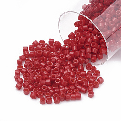 Miyuki® delica beads, perles de rocaille japonais, 11 / 0, (db 0791) semi-dépoli teinté rouge vif opaque, 1x1.5 mm, trou: 0.5 mm; sur 2000 pcs / bouteille(SEED-S015-DB-0791)