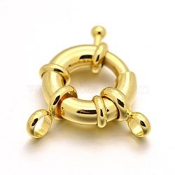 Стойки покрытие Латунь Весна застежками, реальное золото покрыло, 13x5 мм, отверстие : 3 мм(KK-D399-C-G-NF)