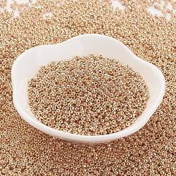 TOHO&reg Japanese Seed Beads, Round, 11/0, Permanent Finish Galvanized Rose Gold, 2x1.5mm, Hole: 0.5mm; about 900pcs/10g(X-SEED-K008-2mm-PF551)