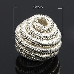perles de printemps en laiton, Perles de bobine, plat rond, plaqué argent, 10x7 mm, trou: 2 mm(X-KK-C3040-S)