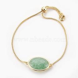"""Bracelets bolo réglables en laiton, Bracelets coulissants, avec maillon aventurine vert naturel et zircone, ovale, or, 9-3/8"""" (23.9 cm), 1mm(BJEW-JB03898-03)"""