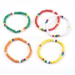 """Bracelets extensibles pour enfants, avec des perles en verre de graine, couleur mixte, 1-3/4"""" (4.6 cm)(BJEW-JB03938)"""