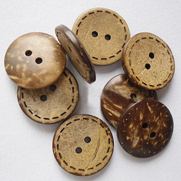 Round 2-Hole Buttons, Coconut Button, BurlyWood, about 20mm in diameter(X-NNA0Z1W)