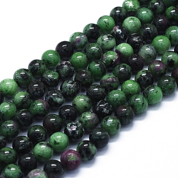 Natural Ruby in Zoisite Beads Strands, Round, 8mm, Hole: 1mm, about 48~49pcs/Strand, 15.35 inches(39cm)(G-E561-12-8mm)