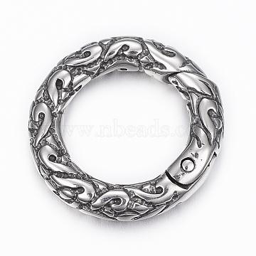 304 Stainless Steel Textured Spring Gate Rings, O Rings, Ring, Antique Silver, 6 Gauge, 20x4mm, Inner Diameter: 13mm(STAS-K153-A-59AS)