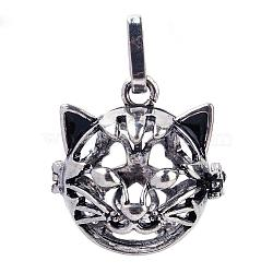 pendentifs cage cage laiton, pour faire des colliers à pendentif carillon, chat creux, argent antique, 26x25x25 mm, trou: 4x8 mm; mesure intérieure: 18 mm(KK-S751-003AS)