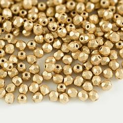 Perles de verre polies au feu tchèques, facette, tambour, or, 6x6mm, trou: 1 mm; environ 37 pcs / 10 g(X-GLAA-F100-D03)