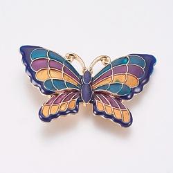 Perles d'émail en alliage, papillon, or clair, colorées, 34x52x3.5mm, Trou: 2mm(PALLOY-G230-40A)