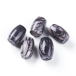 натуральный черный шелковый камень / бисер, баррель, 24~28x17~20 mm, отверстия: 1.5~2 mm(G-L510-05A)