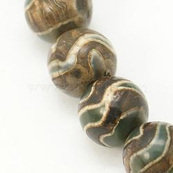 style tibétain perles dzi, agate, teints, arrondir, café, 8 mm, trou: 1 mm; 47 perle / Chapelet(X-TDZI-D005-8mm-06)
