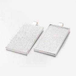 alliage rectangle paramètres cabochon grand pendentif, sans nickel, plaqué argent, plateau: 51x25 mm; 60x28x3 mm, trou: 5x2 mm(PALLOY-K199-02S-NF)