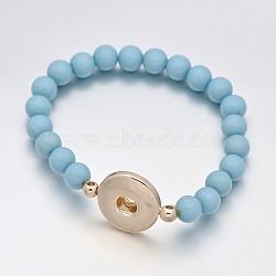 Perles rondes de résine élastique enclenchent la fabrication de bracelets, avec ton or boutons en laiton d'accrochage, bleu ciel, 50 mm; demi-trou: 6 mm; boutons pression Fit à 5~6 mm bouton(MAK-J007-63)