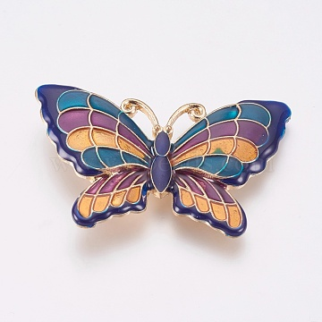 Light Gold Colorful Butterfly Alloy+Enamel Beads