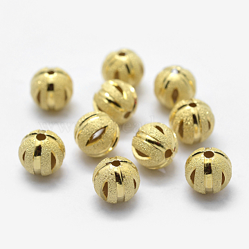 Sterling Silver Spacer Beads, Faceted, Frosted, Round, Golden, 8mm, Hole: 1mm(STER-K171-46G-8mm)
