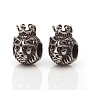 316 Stainless Steel European Beads, Large Hole Beads, Lion with Crown, Antique Silver, 13.5x9.5x11.5mm, Hole: 5mm