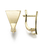 Brass Hoop Earring Findings, with Loop, Nickel Free, Triangle, Real 18K Gold Plated, 15.5x10mm, Hole: 2mm, Pin: 1.5x1mm