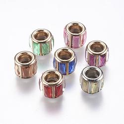 Strass de verre en laiton perles européennes, Perles avec un grand trou   , coeur d'or, colonne, couleur mixte, 10x9mm, Trou: 5mm(CPDL-M016-M)