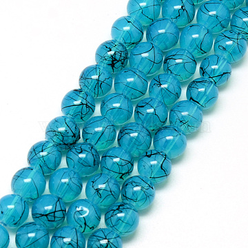 Drawbench & Baking Painted Glass Beads Strands, Imitation Opalite, Round, DeepSkyBlue, 6mm, Hole: 1.3~1.6mm; about 133pcs/strand, 31.4inches(DGLA-Q023-6mm-DB80)