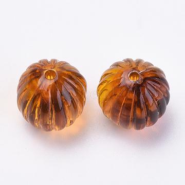 Acrylic Corrugated Beads, Imitation Amber, Round, Dark Orange, 16mm, Hole: 2mm(X-OACR-S016-28)