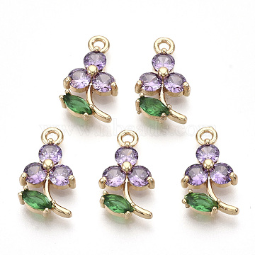Transparent Glass Pendants, with Golden Tone Brass Findings, Faceted, Flower, Violet, 17x10x3.5mm, Hole: 1.6mm(X-GLAA-R212-17A)