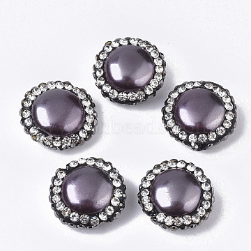 Shell Pearl Beads, with Polymer Clay Jet & Crystal Rhinestone, Flat Round, Purple, 15~15.5x7~7.5mm, Hole: 0.9~1mm(X-PEAR-T004-03A)