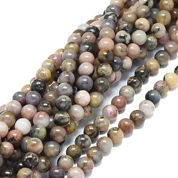 Natural Rhodonite Beads Strands, Round, 8mm, Hole: 1.2mm; about 47pcs/strand, 15.16inches(38.5cm)(G-G828-02-8mm)