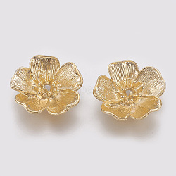 Сеттинги латунь горный хрусталь, цветок, реальное золото покрыло, пригодный для 1.5 мм горный хрусталь; 19x19x5 мм(X-KK-R058-121G)