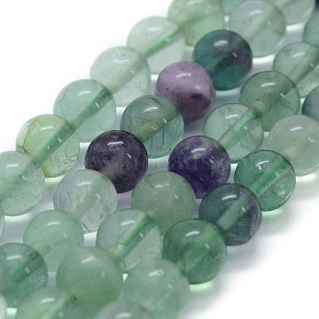 Natural Fluorite Beads Strands, Round, 8mm, Hole: 0.8mm, about 49pcs/strand, 15.3 inches(39cm)(X-G-G763-06-8mm)