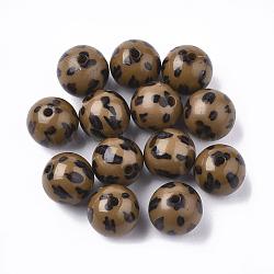 Perles acryliques imprimées, rond, chameau, 11.5~12x11mm, trou: 1.8 mm; environ 520 pcs / 500 g(OACR-S022-15B)