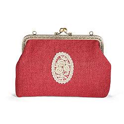 Shegrace® хлопок и льняные женские вечерние сумки, с вышитым кружевом розовые цветы, сплав цветок кошелек рама ручка, сплав витую Снаряженная цепь, малиновый, 180x220x60 мм(JBG007A-02)