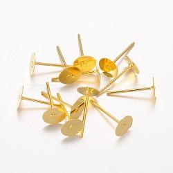 plaqué or conclusions oreille de goujon de base plat de fer, sur 6 mm de diamètre, 12 mm de long, 0.8 mm d'épaisseur(X-E013-G)
