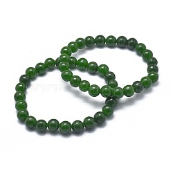 Natural TaiWan Jade Bead Stretch Bracelets, Round, Dyed, 2-1/8inches~2-3/8inches(5.5~6cm); Bead: 8mm(X-BJEW-K212-B-019)