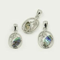 Pendentifs en coquille d'abalone /de paua, avec accessoires pendentif en laiton, ovale, de couleur métal platine , colorées, 28x17x2.5mm, Trou: 5x7mm(SSHEL-J002-46B)