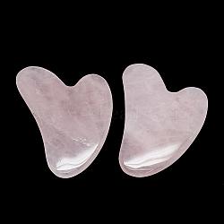 Natural Rose Quartz Gua Sha Boards, Scraping Massage Tools, Gua Sha Facial Tools, Heart, 81~84x58~60x7~8mm(X-G-S336-57B)