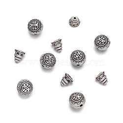 argent tibétain séries gourou de perles, perles t-percées, 3 ronde -hole & perles de tête de Bouddha, argent antique, 10 mm, trou: 1.5 mm; bourrelet calebasse: 7.5x7.5 mm, trou: 1.5 mm; 10 lots / set(PALLOY-TA0001-04AS)